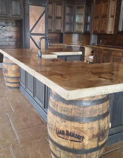 Jack Daniels whiskey kitchen concrete countertop