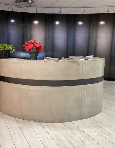 concrete custom made reception desk nashville