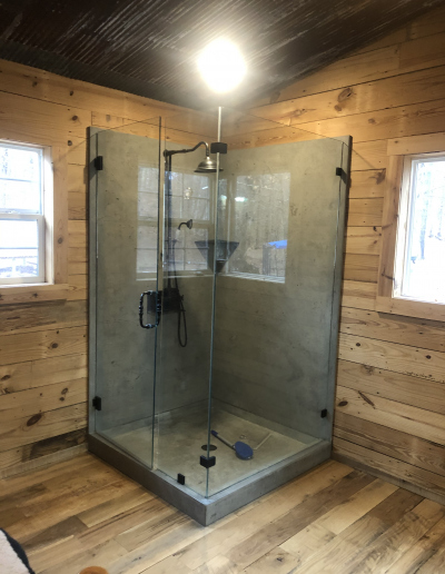 custom shower concrete cement farmhouse rustic